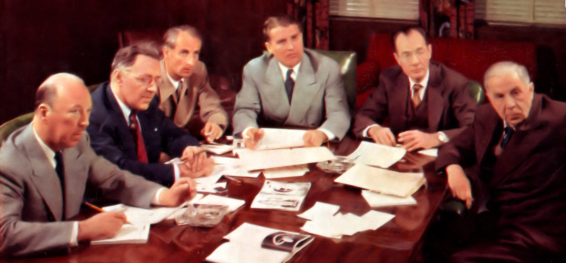 Left to right: Rolf Klep, Willy Ley, Heinz Haber, Wernher von Braun, Fred L. Whipple and Chesley Bonestell